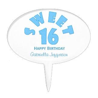 Blue Sweet 16 Cake Pick