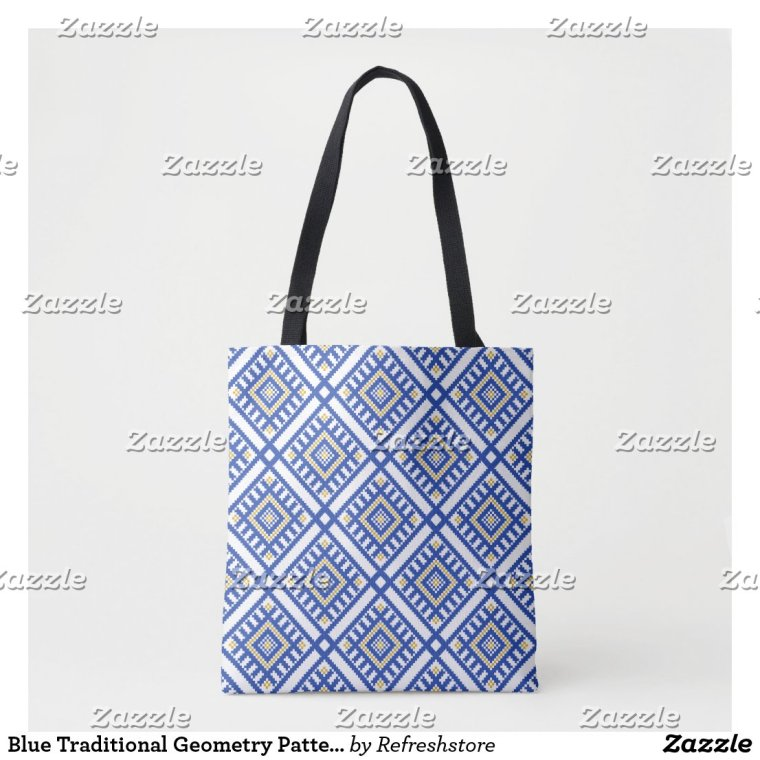 Blue Traditional Geometry Pattern Tote Bag