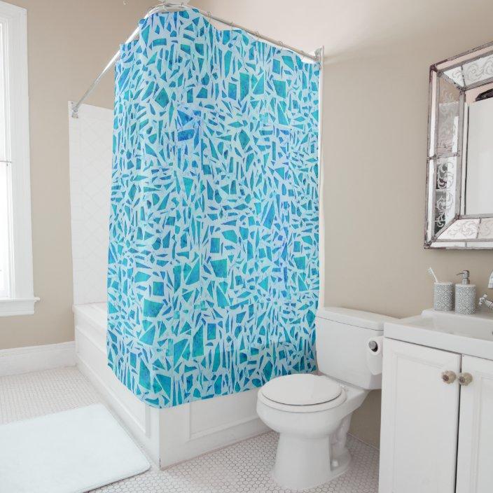 blue turquoise mosaic glass tile modern chic shower curtain zazzle com
