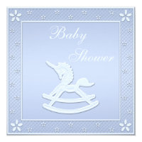 Blue Unicorn Rocking Horse Baby Boy Shower Card