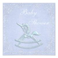 Blue Unicorn Rocking Horse Glitter Baby Shower Card