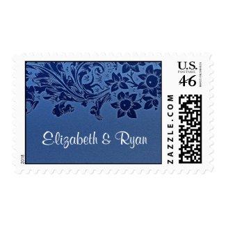 blue vintage design elegant postage stamp