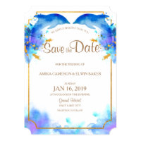 Blue Watercolor Dolphin Save the Date Card