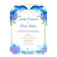 Blue Watercolor Dolphin Wedding Invitation Card