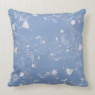 Blue & White Flowers Throw Pillow