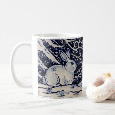 Blue & White Rabbit Tile Winter Woodland Snow Coffee Mug