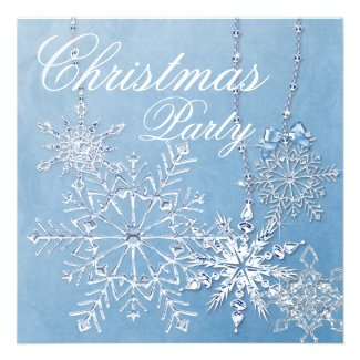 Blue White Snowflakes Christmas Party Personalized Announcement