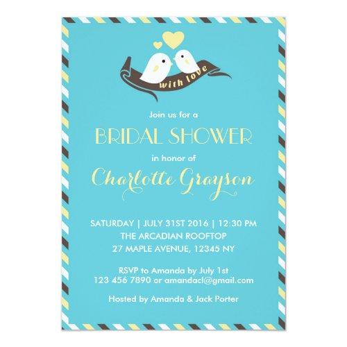 Blue Yellow Love Birds Bridal Shower Invitation