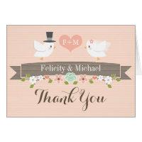 BLUSH MONOGRAM LOVE BIRDS DOVE WEDDING THANK YOU CARD