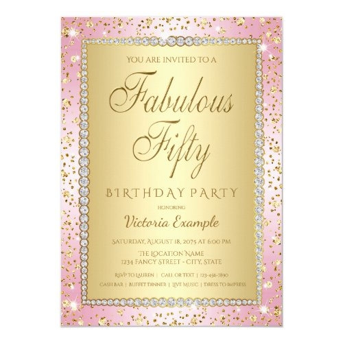 Blush Pink and Gold 50th Birthday Party Invitation