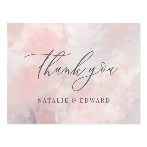 Blush pink and purple abstract painted wedding postcard