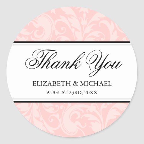 Blush Pink Black Damask Swirl Wedding Thank You Classic Round Sticker