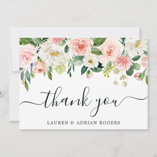 Blush Pink Bloom Wedding Thank You Card