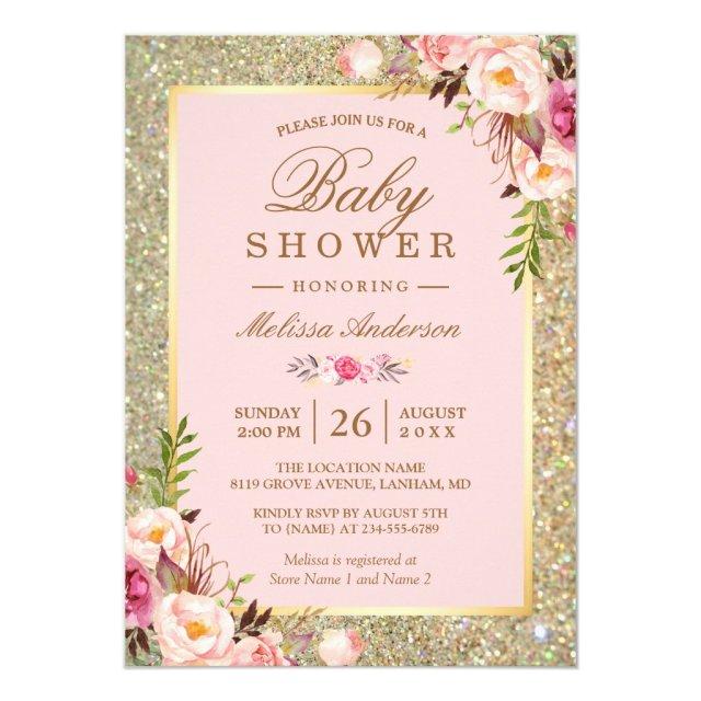 Blush Pink Floral Gold Sparkles Baby Shower