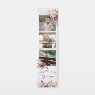 Blush Pink Floral I Love You Grandma Photo Collage Award Ribbon