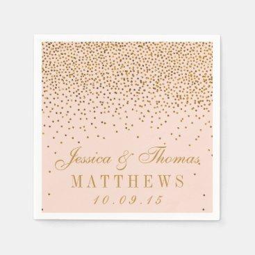 Blush Pink & Gold Confetti Wedding Paper Napkin