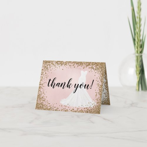 Blushing Glitter Bride Dress Bridal Thank You Card