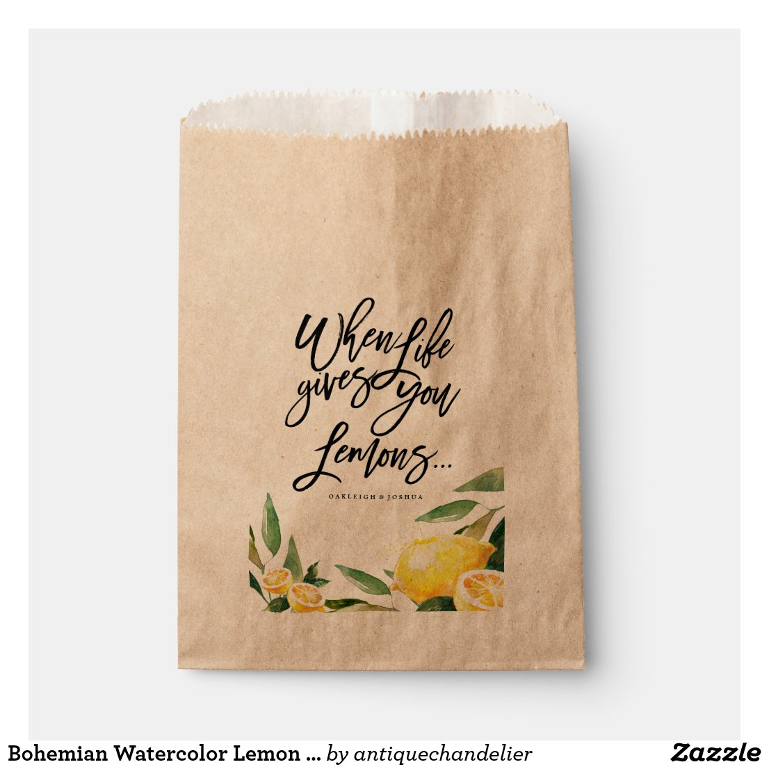 Bohemian Watercolor Lemon Wedding Favour Bag