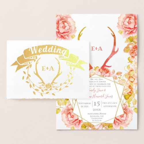 Boho Bohemian Deer Antler and Roses Pink Wedding i Foil Card
