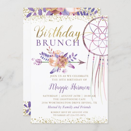 boho chic floral dreamcatcher birthday brunch invitation zazzle com
