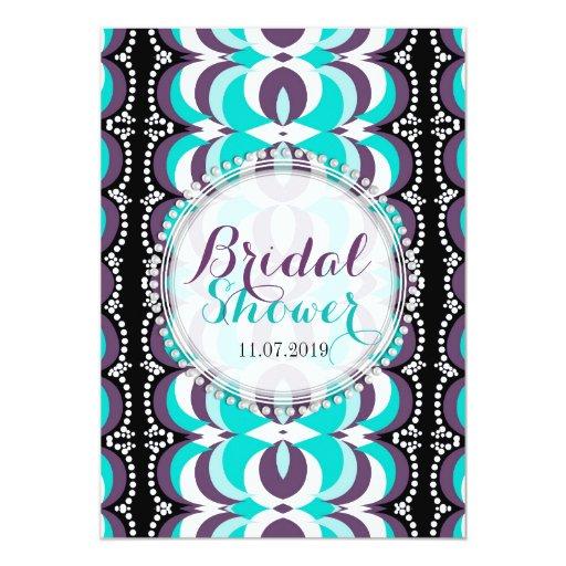 Boho Chic Purple Aqua Bridal Shower Card