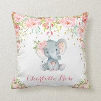 Boho Elephant Pink Gold Baby Girl Nursery Decor Throw Pillow