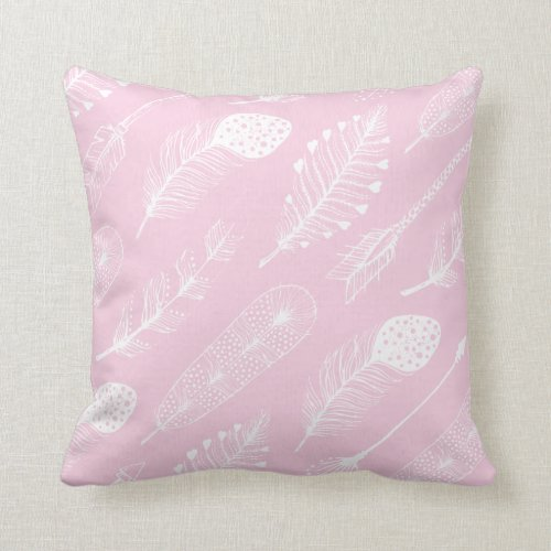Boho Feather Pattern Pastel Pink Throw Pillow