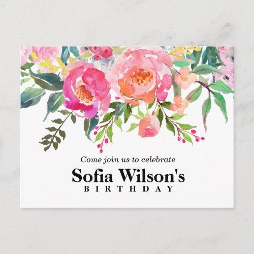 boho floral, flower birthday Postcard invitation
