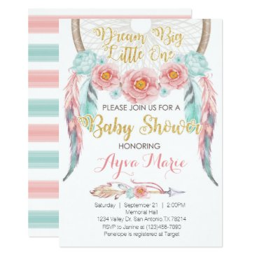 Boho Pink Blue Dreamcatcher Baby Shower Invitation