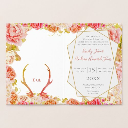Boho Pink Blush Rose Gold Antler Wedding Real Gold Foil Card
