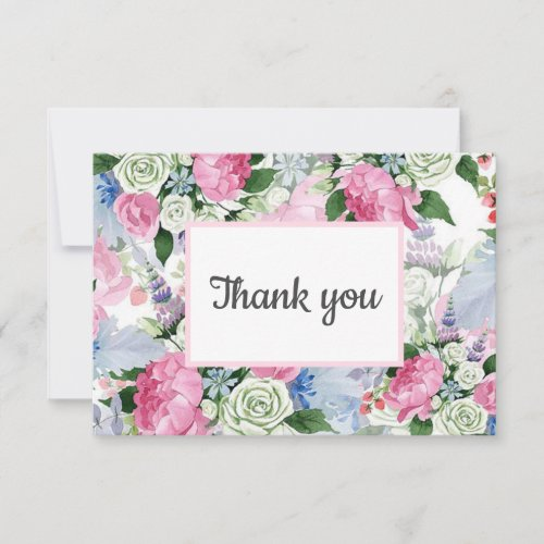 Boho pink lilac blue Floral post WEDDING favor RSVP Card