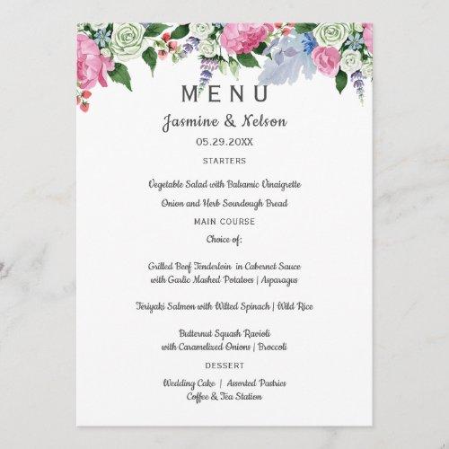 Boho rustic pink lavender flowers Wedding or Party Menu