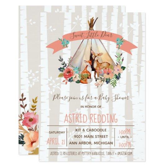 Boho Spring Little Deer Woodland Baby Shower Invitation