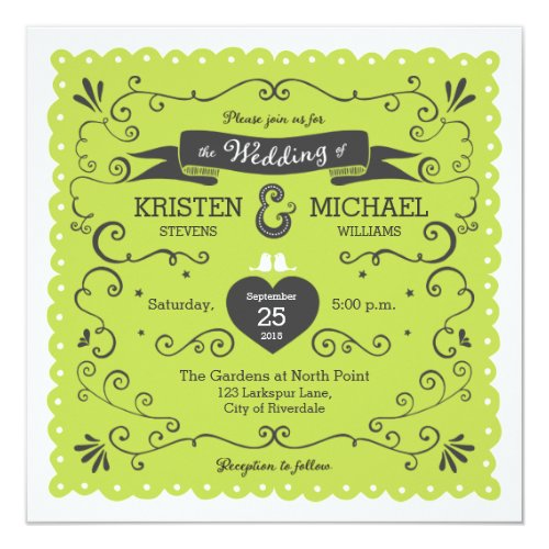 Boho Swirls, Curls, a Banner & Lovebirds Wedding Invitation by Poptastic Bride