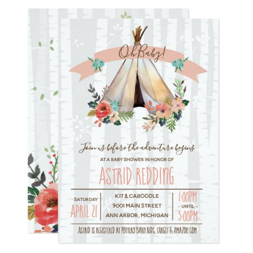 Boho Teepee Gender Neutral Rustic Baby Shower Invitation