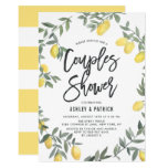 Boho Watercolor Lemon Wreath Couples Shower Invitation