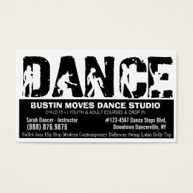 Bold DANCE Studio Black and White Business Card