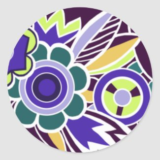 Bold Deco Florals in Purple - Stickers sticker
