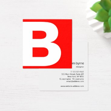 Bold Red Modern Professional Monogram Square Business Card
