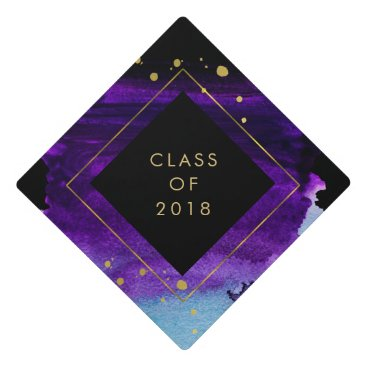 Bold Watercolor Splash with Gold | Class of 2018 Graduation Cap Topper