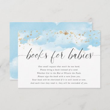 Books for babies twin boys watercolor blue gold enclosure card
