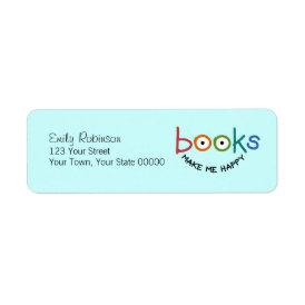 Books Make Me Happy Label