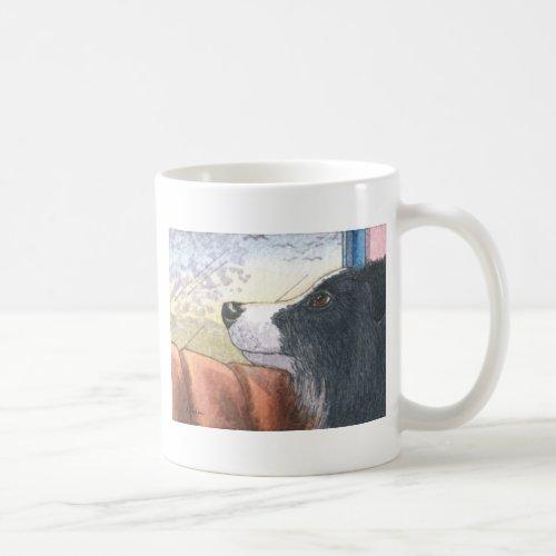 Border Collie dog waiting in car Coffee Mug