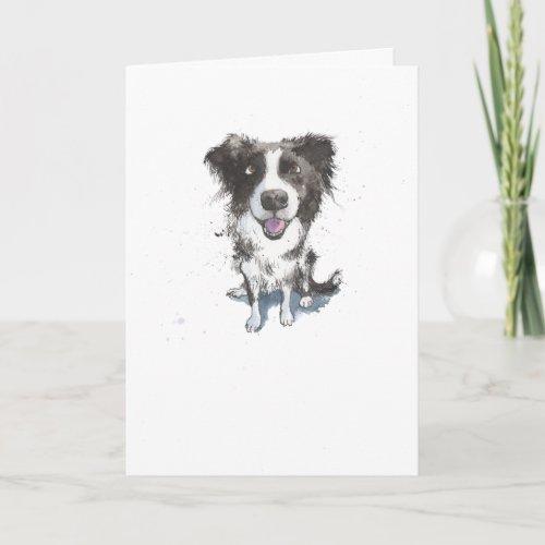 Border Collie, funny Dog illustration Birthday Card