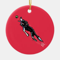 Border Collie in Action Christmas Ornaments