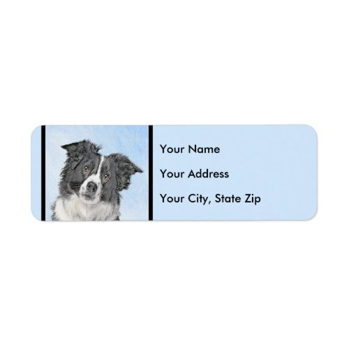Border Collie Painting - Cute Original Dog Art Label