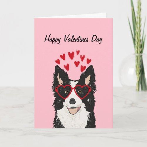 Border Collie Valentines Day Card