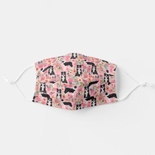 Border Collie vintage florals pink Adult Cloth Face Mask
