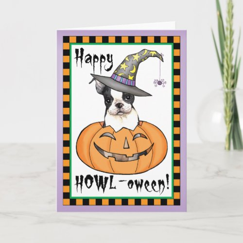 Boston Terrier Halloween Card