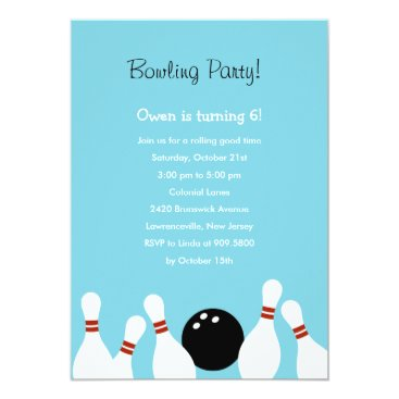 Bowling Fun Party Invitation (Turquoise)